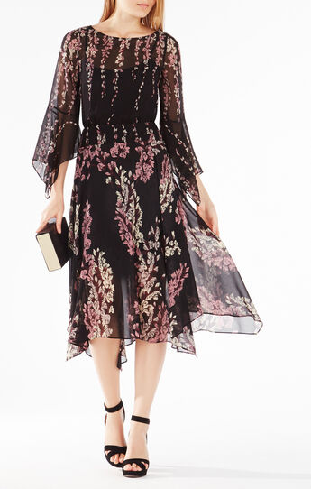 Rayne Floral Print-Blocked Dress