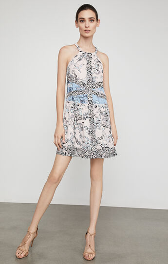 Sharlot Floral Print-Blocked Dress