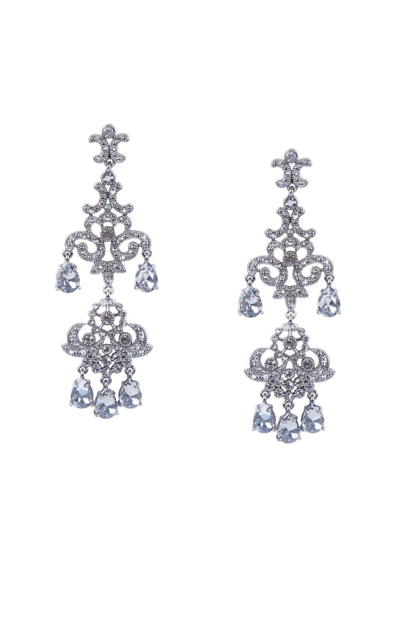 Teardrop Stone Chandelier Earrings Hover To Zoom