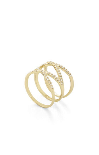 Pave Stone Double Crisscross Ring