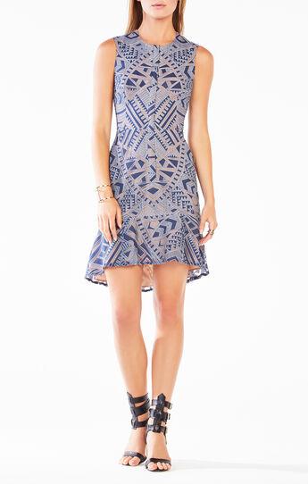 Chrystal Zip-Front Burnout Mesh Dress