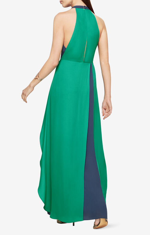 Camillia Halter-Neck Color-Blocked Dress