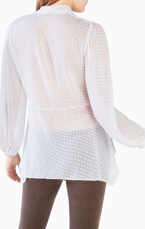 Kelleigh Tie-Neck Clipped Dot Top