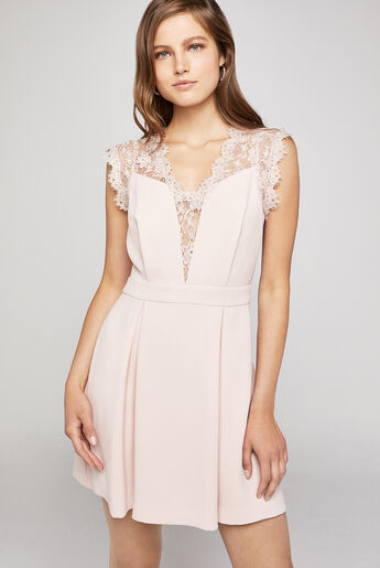 Lace-Back Pleated Dress