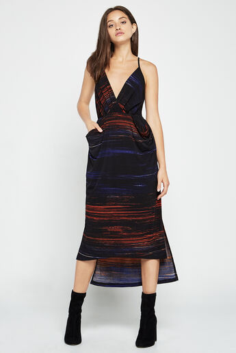 Faux-Wrap Midi Dress