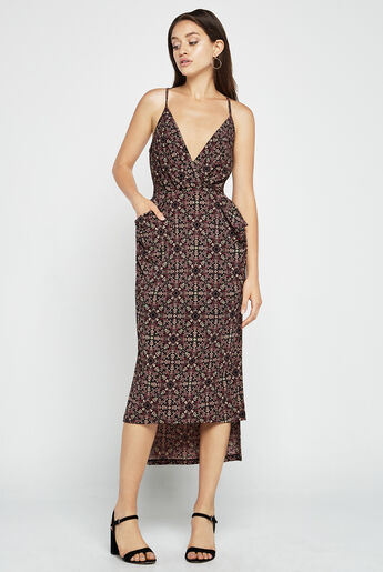Batik Faux-Wrap Midi Dress
