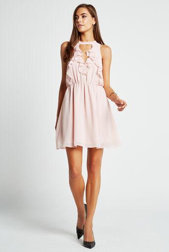 Ruffled Halter Flare Dress
