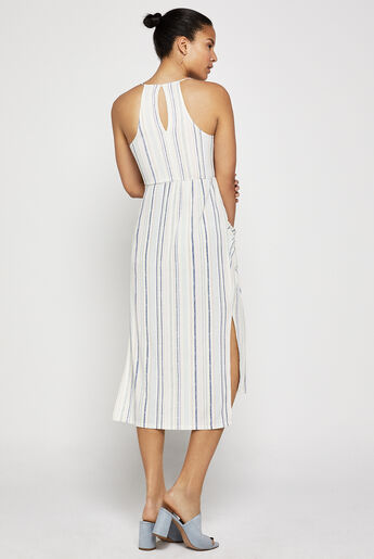 Striped Faux-Wrap Midi Dress
