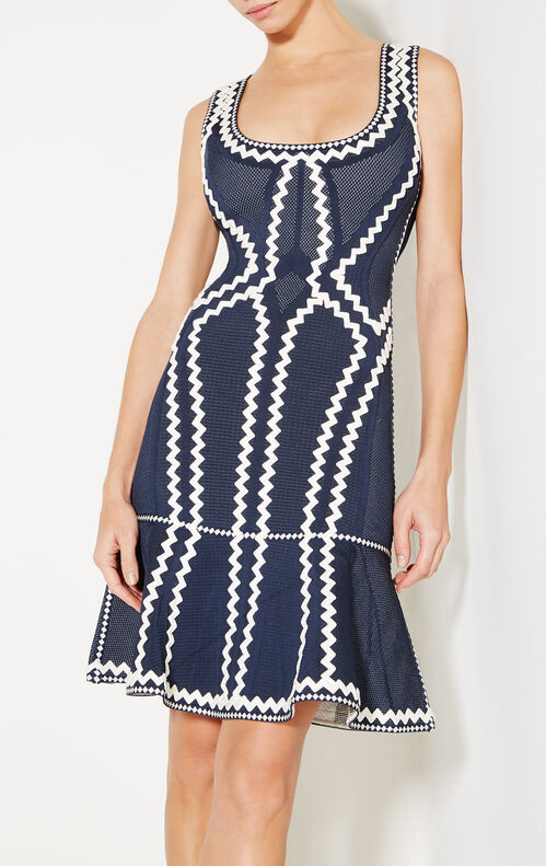 Issaa Zigzag Pointelle Knit Flute Dress