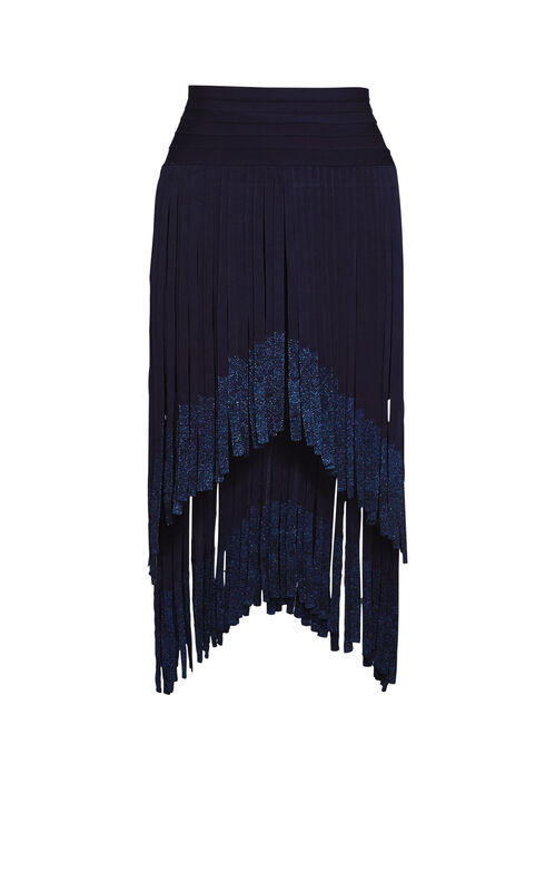 Keana Metallic Fringe Bandage Skirt