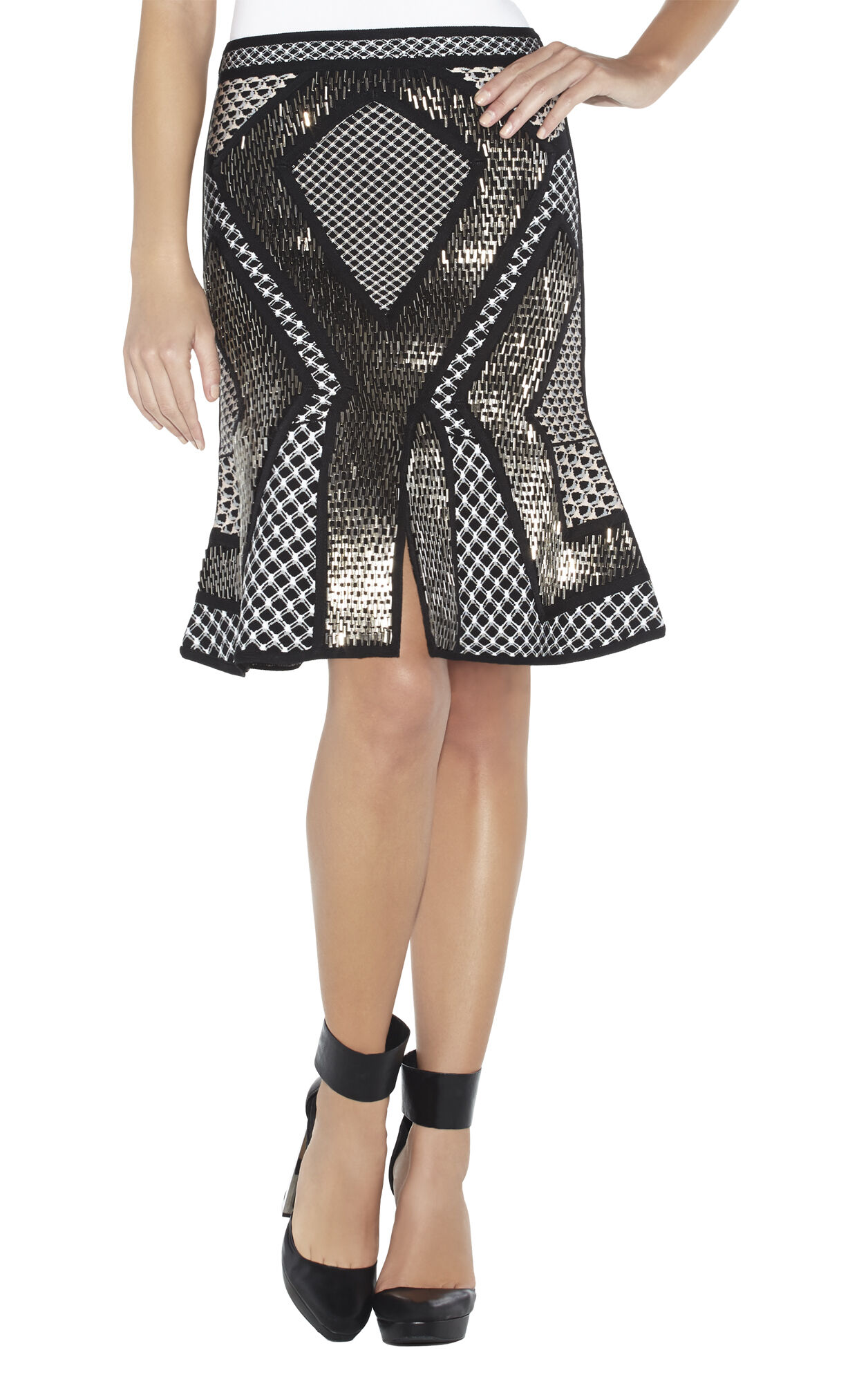 Lorri Geometric-Stacked Beaded Mesh-Detail Skirt