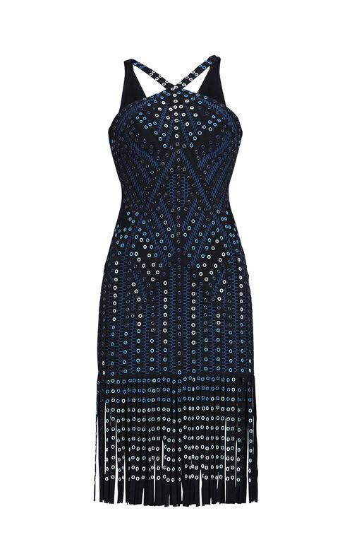 Adina Ombre Grommet Body-Con Fringe Dress