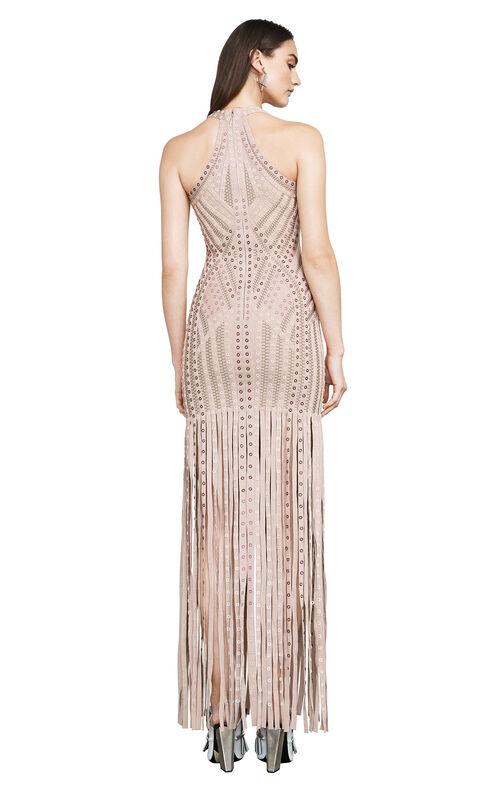 Alenis Fringe Ombre Grommet Cutout Gown