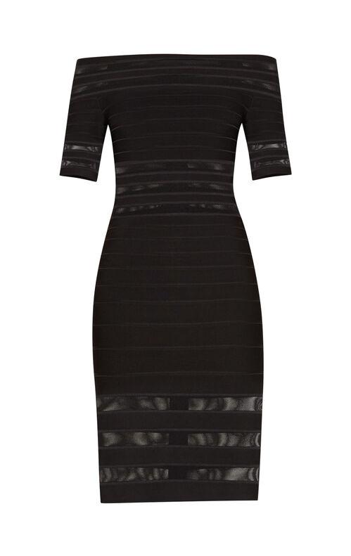 Leia Mesh Inset Off-Shoulder Dress