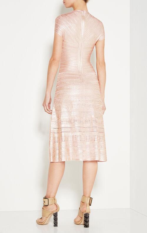Emilia Metallic Foil Pointelle-Trimmed Dress