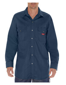 Flame-Resistant Long Sleeve Twill Snap Front Shirt - NAVY (NV)