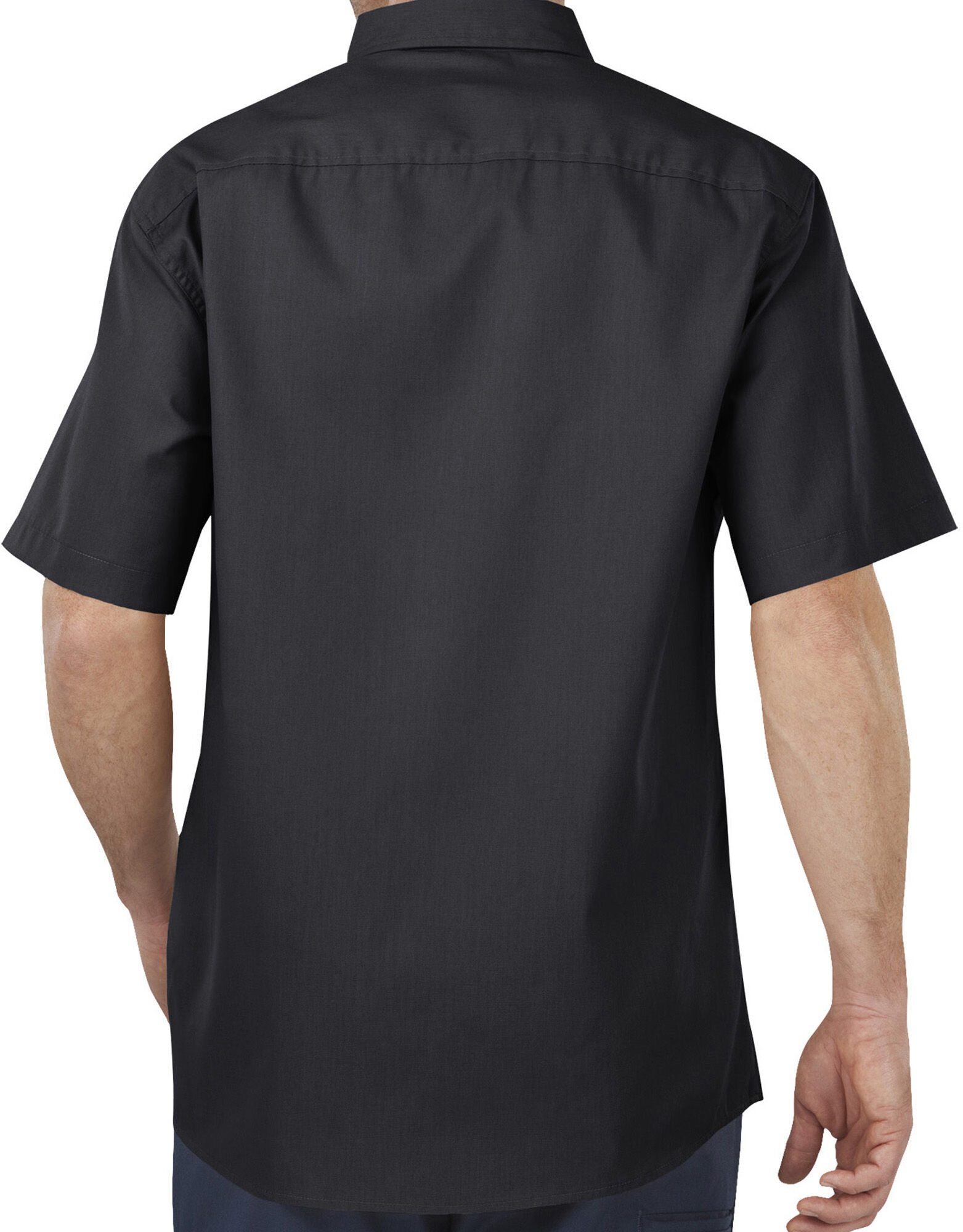 Industrial flex comfort short sleeve shirt mens for Mens black short sleeve dress shirt