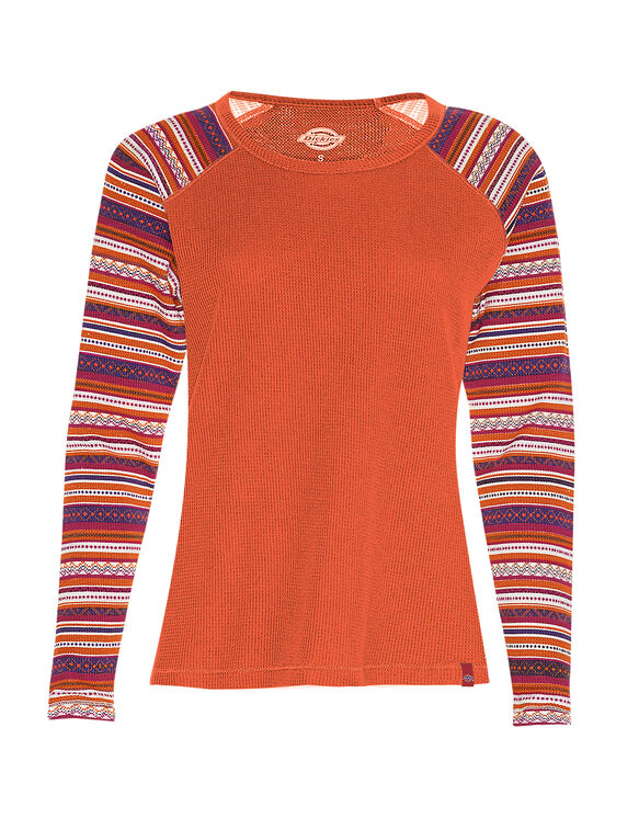 Women's Long Sleeve Thermal Henley - RED CLAY (CA)