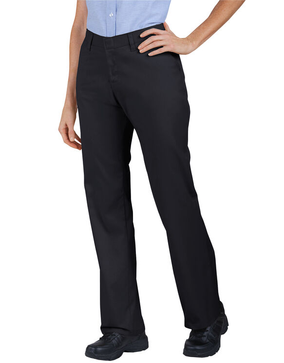 Women's Industrial Flat Front Twill Pant - BLACK (BK)