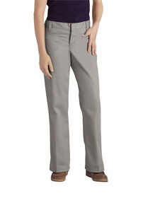 Juniors Schoolwear Classic Fit Boot Cut Leg Stretch Twill Pant - SILVER (SV)