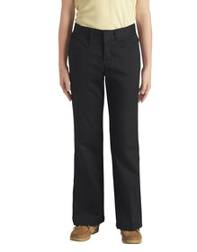 Girls' Classic Fit Boot Cut Leg Stretch Twill Pant, 4-6 - BLACK (BK)