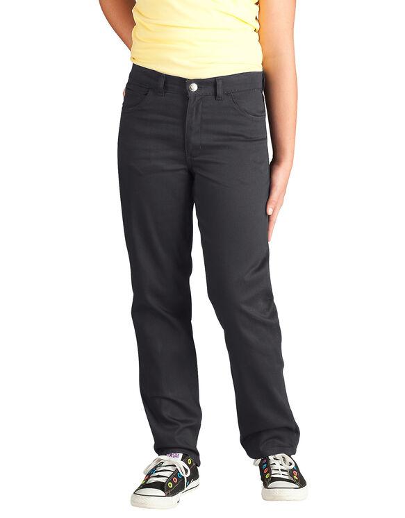 Girls' Skinny Fit Straight Leg 5-Pocket Stretch Twill Pant, 7-20 - BLACK (BK)