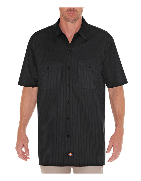 Short Sleeve Twill Stripe Work Shirt - BLACK (BK)