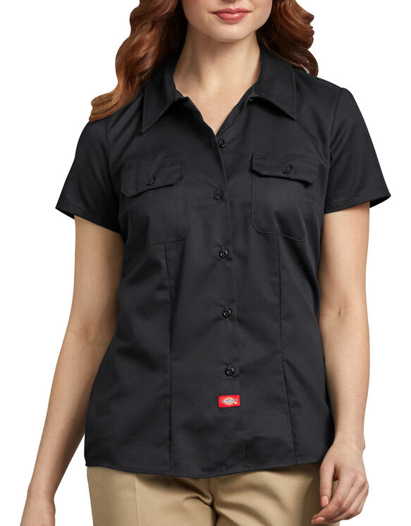 Women's Short Sleeve Work Shirt - BLACK (BK)