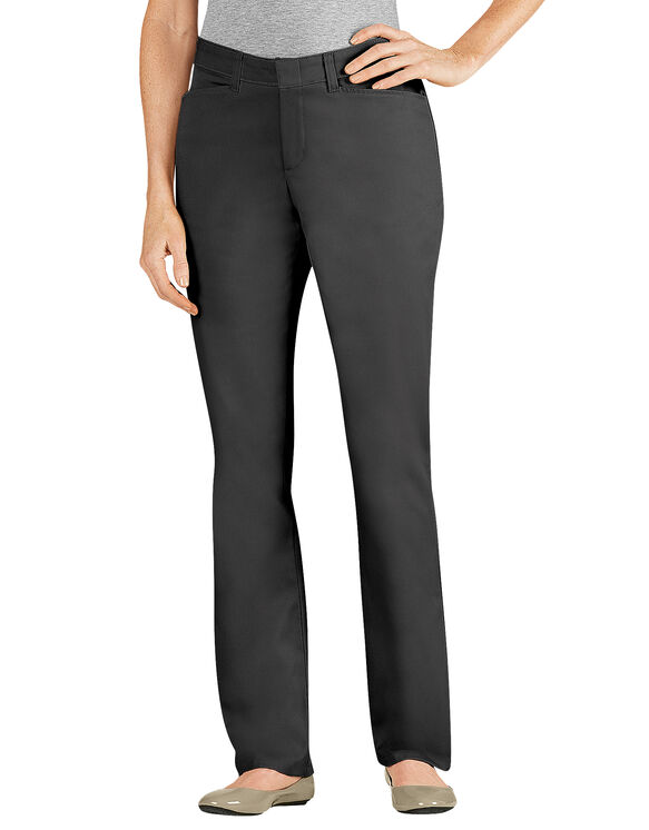 Women's Slim Fit Straight Leg Stretch Twill Pant - BLACK (BK)