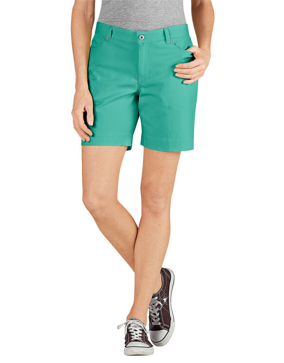 "Women's 7"" Relaxed Fit Stretch Canvas Short - RINSED BRIGHT SEA GREEN (RTS)"