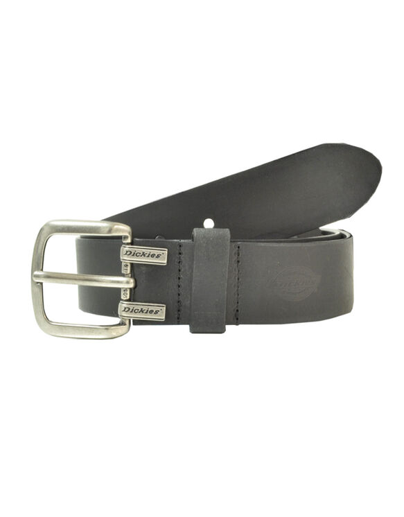 Leather Cut Edge Logo Belt - BLACK (BK)