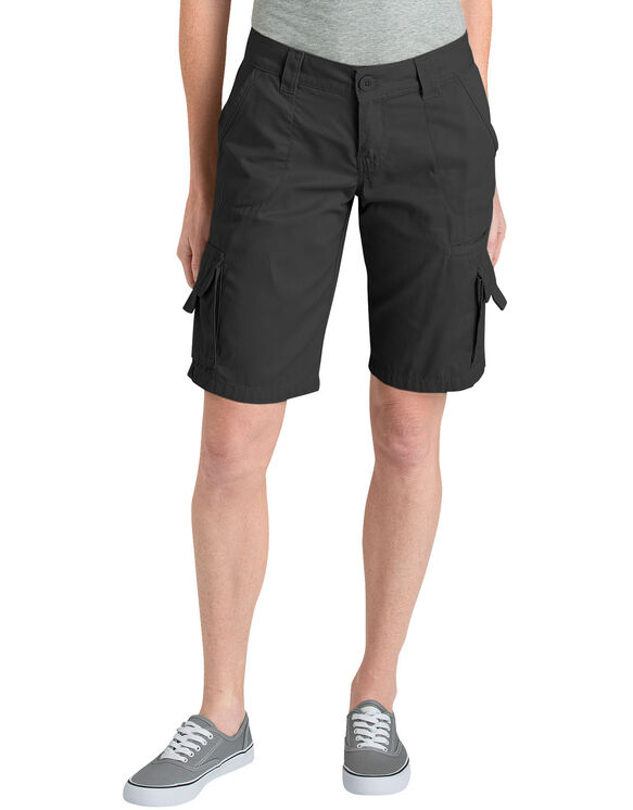 """Women's 10"""" Relaxed Fit Cotton Cargo Short - RINSED BLACK (RBK)"""