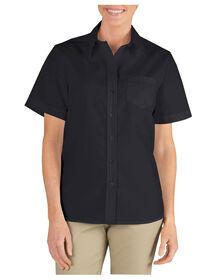 Women's Short Sleeve Stretch Poplin Shirt - BLACK (BK)