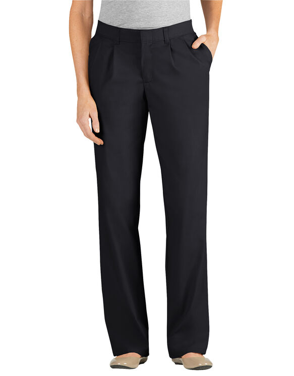 Women's Relaxed Fit Straight Leg Pleated Front Pant - BLACK (BK)