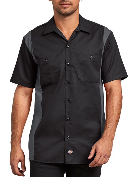 Two-Tone Short Sleeve Work Shirt - BLACK/CHARCOAL (BKCH)