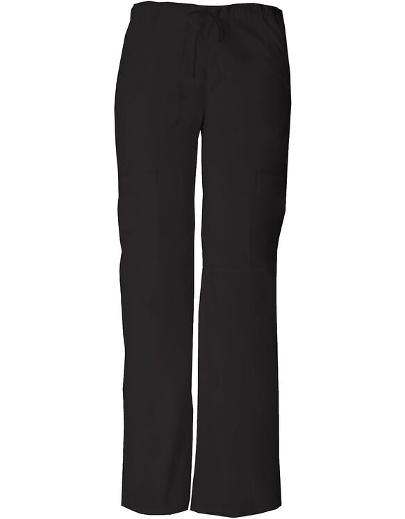 Women's Junior Fit EDS Drawstring Cargo Scrub Pant - BLACK-LICENSEE (BLK)