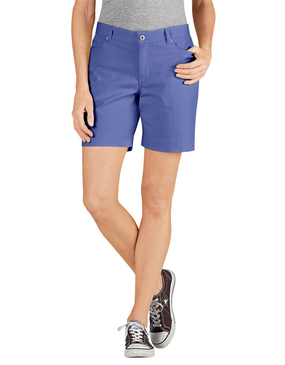 "Women's 7"" Relaxed Fit Stretch Canvas Short - RINSED ELECTRIC VIOLET (REI)"