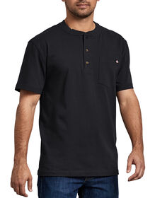 Short Sleeve Heavyweight Henley - BLACK (BK)