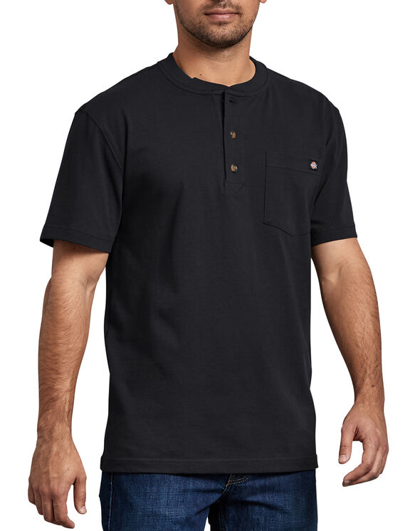 Short Sleeve Heavyweight Henley - BLACK (BK)