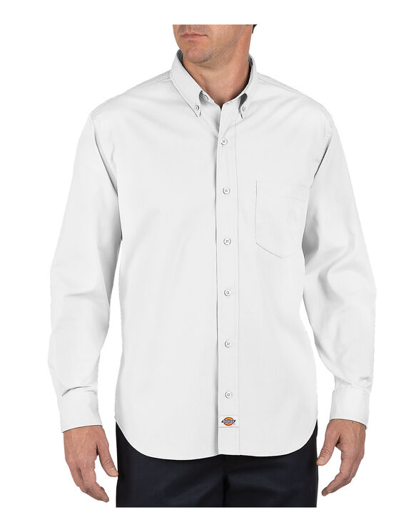 Long Sleeve Industrial Button-Down Poplin Shirt - WHITE (WH)