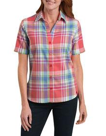 Women's Short Sleeve Plaid Shirt - PLIAD CORAL REEF/FRENCH BLUE (PCF)