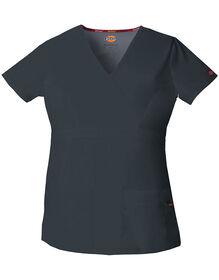 Women's EDS Mock Wrap Scrub Top - PEWTER-LICENSEE (PEW)