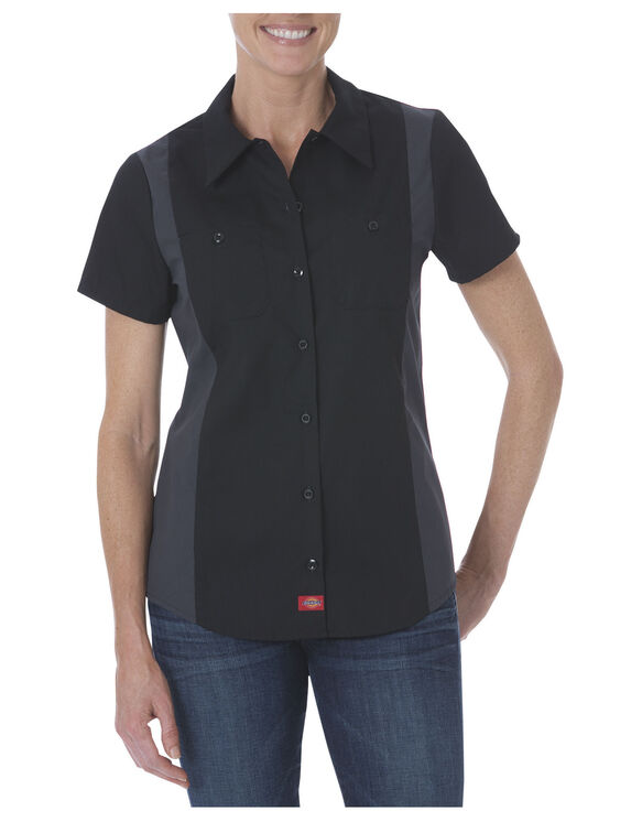 Women's Industrial Short Sleeve Color Block Shirt - BLACK/CHARCOAL (BKCH)