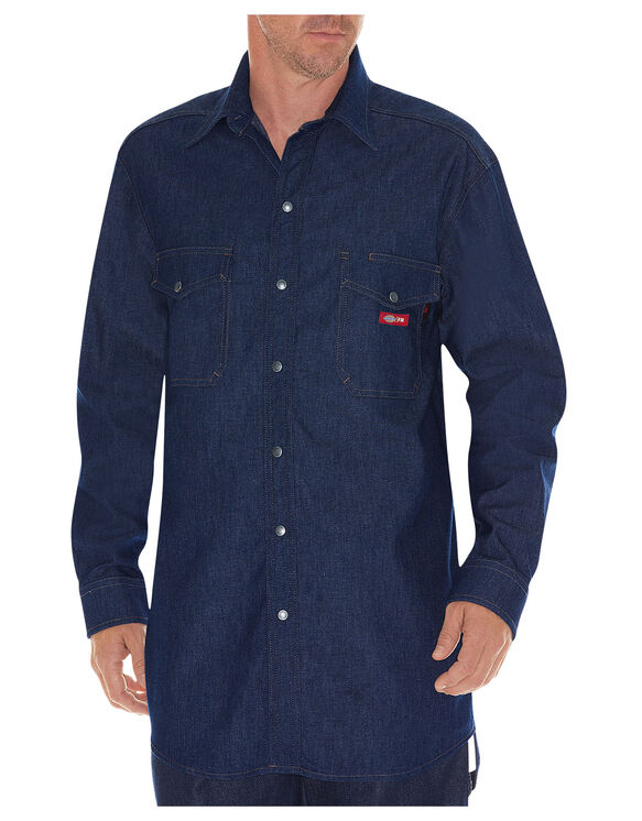 Flame-Resistant Long Sleeve Denim Snap Front Shirt - INDIGO BLUE (NB)