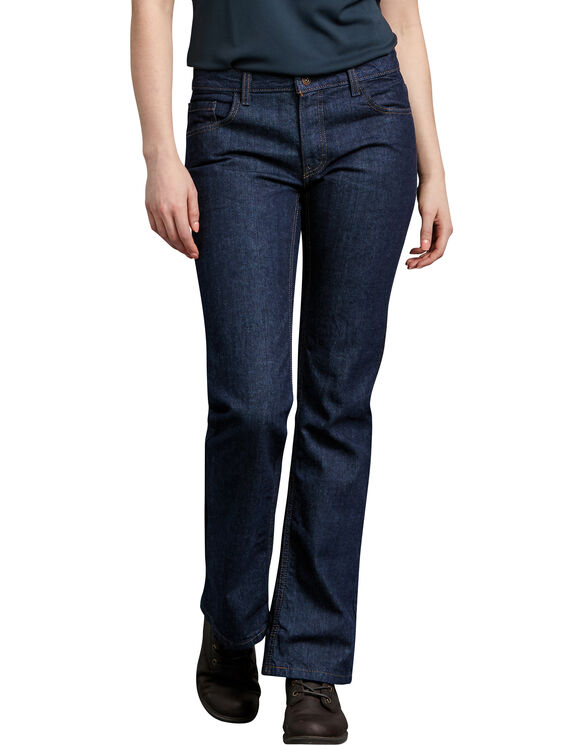 Women's Industrial Relaxed Fit Denim Jean - RINSED INDIGO BLUE (RNB)