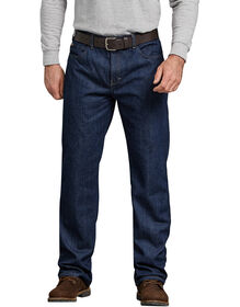 Relaxed Straight Fit Flannel-Lined Denim Jean - RINSED INDIGO BLUE (RNB)