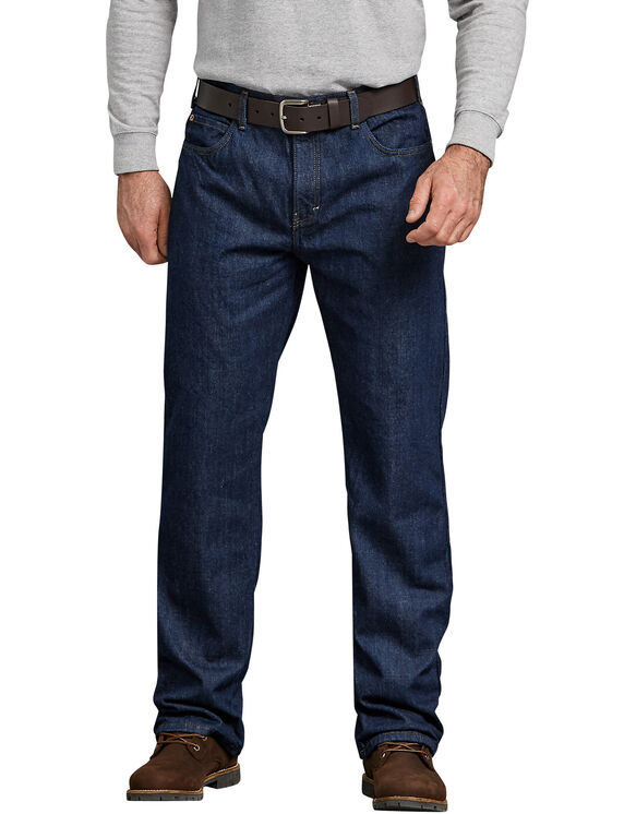 Relaxed Straight Fit Flannel-Lined Denim Jean