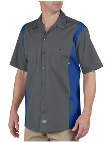 Industrial Color Block Short Sleeve Shirt - CHARCOAL/ROYAL BLUE (CHRB)