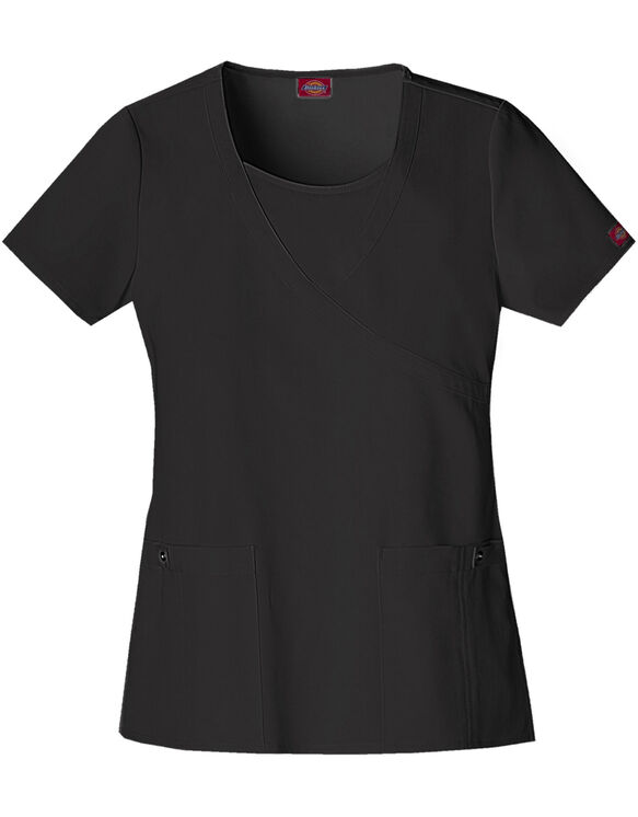 Women's Junior Fit Xtreme Stretch Mock Wrap Scrub Top - BLACK-LICENSEE (BLK)