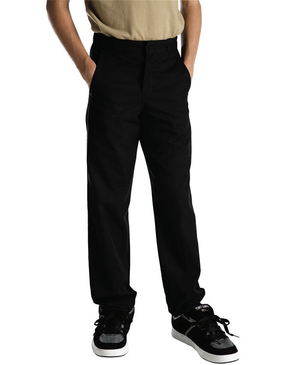 Adult Sized Classic Fit Straight Leg Flat Front Pant - BLACK (BK)